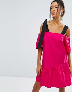 Read more about Asos pep hem cotton cold shoulder dress - pink