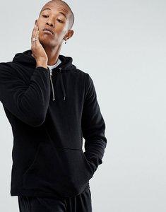 Read more about Asos oversized hoodie in fleece with half zip - black