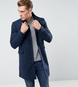 Read more about Only sons funnel neck overcoat in texture - dark navy