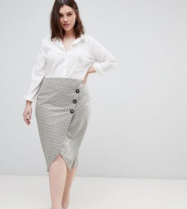 Read more about Asos design curve tailored midi skirt in check with button wrap detail - check