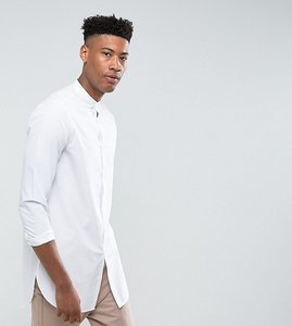 Read more about Asos tall regular fit super longline shirt with grandad collar in white - white