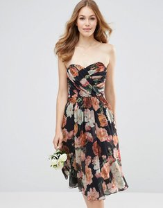 Read more about Asos wedding chiffon bandeau large floral midi dress - multi