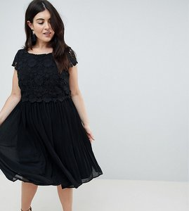 Read more about Lovedrobe crochet pleated dress - black