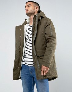 Read more about Bellfield borg lined parka with hood - khaki