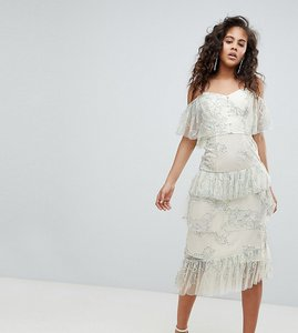 Read more about Asos design tall delicate lace cold shoulder midi dress with ruffles - multi