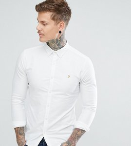 Read more about Farah skinny fit button down oxford shirt in white - white 104