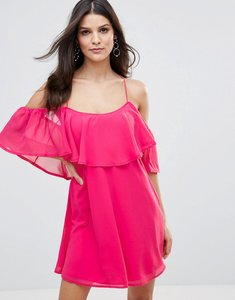 Read more about Club l frill detail chiffon dress with cross back - carmine rose