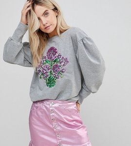 Read more about Chorus petite mutton sleeve sweater with sequin floral - grey