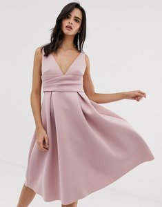 Read more about Asos design prom midi dress with wrap waist detail