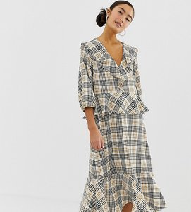 Read more about Monki frill detail midi dress in check print