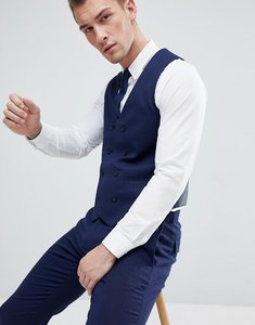 Read more about Asos wedding skinny suit waistcoat in french navy micro texture - navy