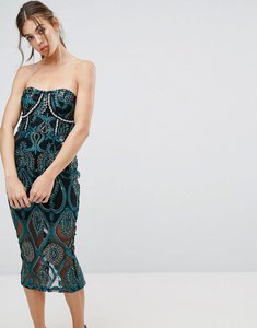 Read more about Prettylittlething premium embroidered bandeau midi dress - black green