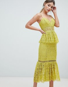 Read more about Asos design peplum hem lace pencil dress with delicate trim - yellow