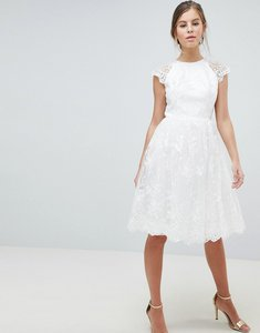 Read more about Chi chi london premium lace midi dress - white