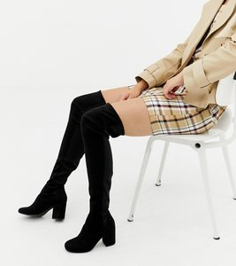 Read more about Asos design kadi heeled over the knee boots - black