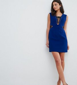 Read more about Asos tall lace up plunge sexy mini dress - cobalt