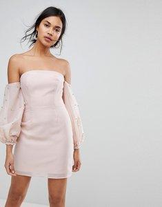 Read more about Keepsake bardot beaded mini dress - blush