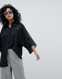 Read more about Asos design short sleeve sheer and solid shirt - black