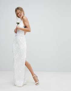 Read more about Asos edition wedding tiered multi fringe maxi dress - white