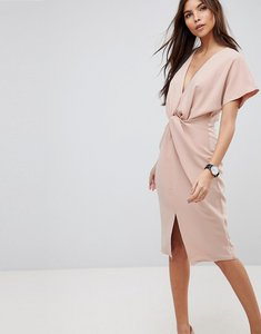 Read more about Asos twist knot textured kimono midi dress - blush