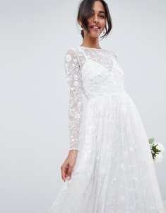 Read more about Asos edition all over embellished and embroidered wedding dress - white