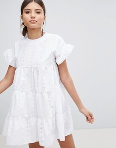 Read more about Prettylittlething broderie smock dress - white