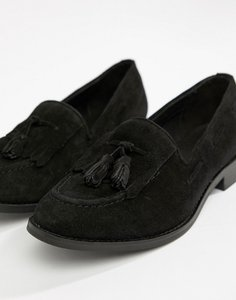Read more about H by hudson fringe leather loafer - black suede
