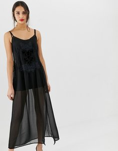 Read more about Bershka sheer embroidered midi dress - black