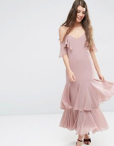 Read more about Asos premium maxi dress with frill hem and cold shoulder - pink