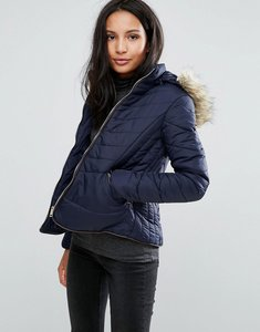 Read more about Brave soul zip padded coat - navy