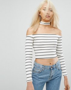 Read more about Arrive bardot stripe crop top with collar - white black stripe