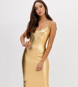 Read more about Flounce london cami strap metallic midi dress - gold