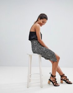 Read more about Missguided spot print wrap over midi skirt - black