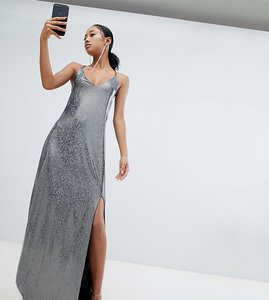 Read more about Lasula allover metallic open back maxi dress - black silver