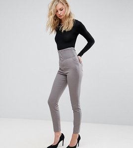 Read more about Asos tall corset detail cigarette skinny trouser - charcoal