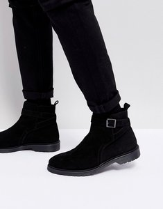 Read more about Asos chelsea boots in black leather with strap detail - black
