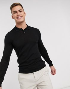 Read more about Asos knitted muscle fit polo shirt in black - black