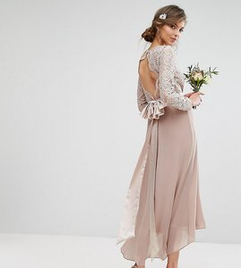 Read more about Tfnc tall lace midi bridesmaid dress with bow back - mink