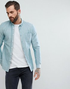Read more about Asos design casual stretch slim oxford shirt in green - green