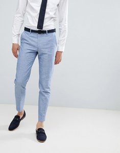 Read more about Moss london skinny linen wedding suit trousers in blue - blue