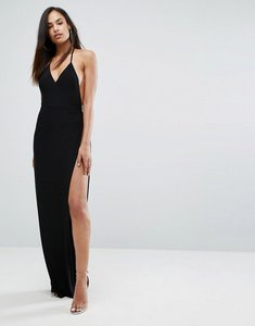 Read more about Club l slinky wrap front maxi dress - black