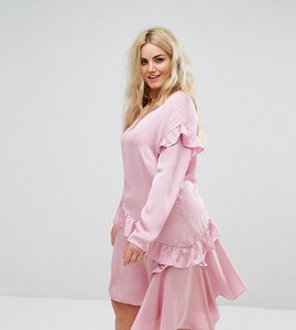 Read more about Alice you long sleeve shift dress with ruffle layers - light pink