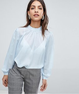 Read more about Selected femme high neck stripe blouse - multi