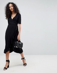 Read more about Asos wrap front midi tea dress with frill - black