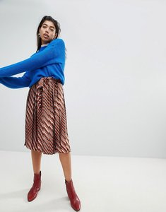 Read more about Mango wide pleated tie detail skirt - multi