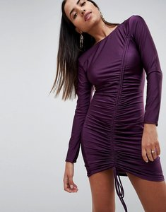 Read more about Ax paris long sleeve ruched mini dress - plum