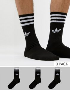 Read more about Adidas originals solid crew 3 pack socks in black s21490 - black