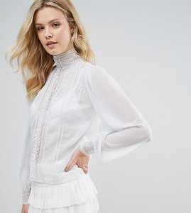 Read more about Asos tall victoriana blouse with pintuck and lace detail - blue