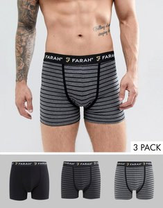 Read more about Farah admirality 3 pack boxer shorts - blk asphalt ccoal mr