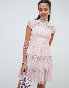 Read more about Chi chi london tiered lace high neck skater dress - mink